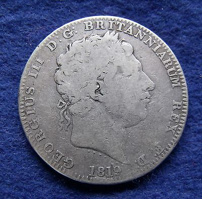 1819 Crown five shillings 5/- King George III .925 Silver British Coin