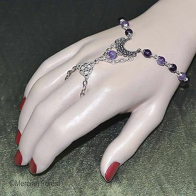 Luna Amethyst Pagan Bracelet Ring - Pagan Jewellery, Wicca, Witch, Gemstone