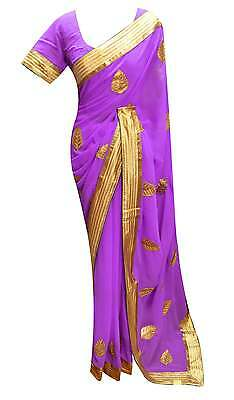 Women's Lilac Saree Gold border with floral embroidery ready made blouse UK 7230
