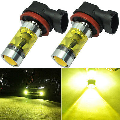 2x 100W High Power H11 H8 LED Fog Light Samsung Chip 4300K Yellow Driving Bulbs