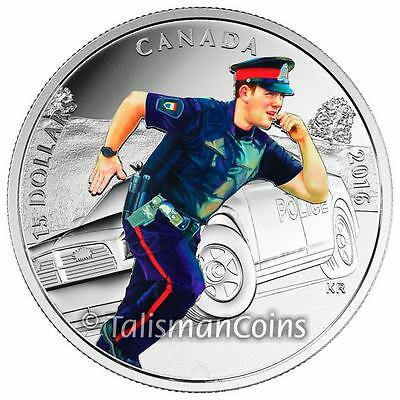 Canada 2016 National Heroes #3 Police Officer Policeman $15 Pure Silver Proof