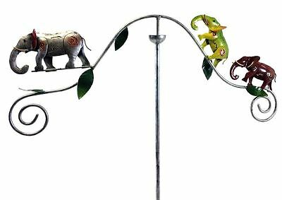 Metal Garden Wind Spinner, Balance Stake - Colourful Elephant Family