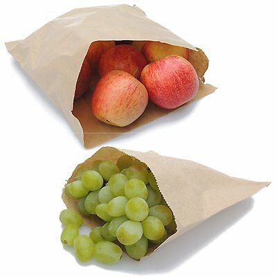 Brown White Kraft Paper Food Bags Market Stall Bags Choose Size & Pack Quantity
