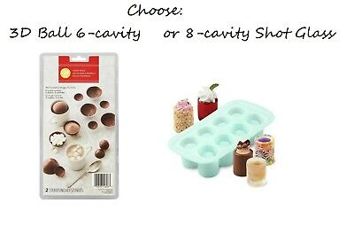 Wilton Round Shot Glass Silicone Mold 8-Cavity Ice Cubes Gelatin Cookie Treats