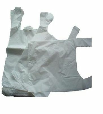 """100 x WHITE PLASTIC VEST CARRIER BAGS 10x15x18"""" *LIMITED OFFER*"""