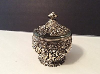 Silverplated Covered Sugar Bowl with Glass Insert, Ornate Floral Pattern