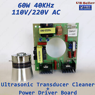 60W 40KHz 110VAC Ultrasonic Cleaning Kit Transducer Cleaner + Power Driver Board