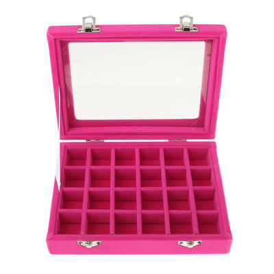24 Grids Velvet Jewelry Storage Box Earrings Ring Cufflinks Nail Case - Rose