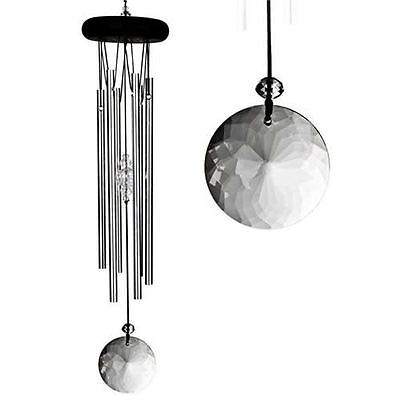 Woodstock Meditation Wind Chime Silver Crystal Chimes Musical Mantra Calm