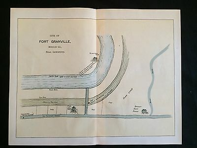 1896 color map Pennsylvania FRONTIER FORT GRANVILLE Mifflin County LEWISTOWN