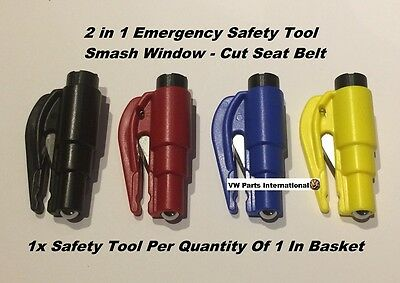 Mini 2 In 1 Emergency Safety Hammer Break Glass Cut Seat Belt VW Golf GTi R R32