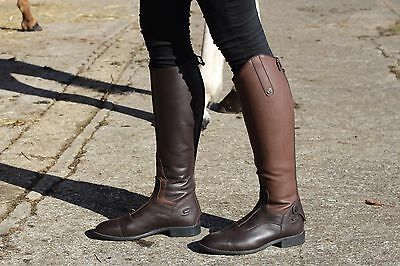 New QHP Birgit Long Leather Riding Boots with Elastic Shaft Adults TOP QUALITY