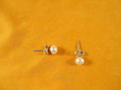 Sterling Silver, AAA 5 mm White Freshwater Pearl Studs