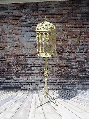Stunning Vintage White Wrought Iron Decorative Standing Bird Cage -Wedding Card