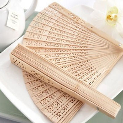 Women Chinese Style Hollow Wooden Folding Bamboo Carved Hand Fan Gift AU