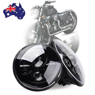 "1Pc Black 7"" Inch LED Headlight For Harley Hi/Lo Beam Assemblies Lamp Projector"