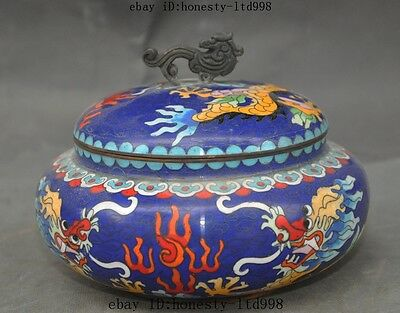 "6"" Old Chinese Bronze Cloisonne Dragon Beast Statue Tank Crock Pot Jar Boxes Box"