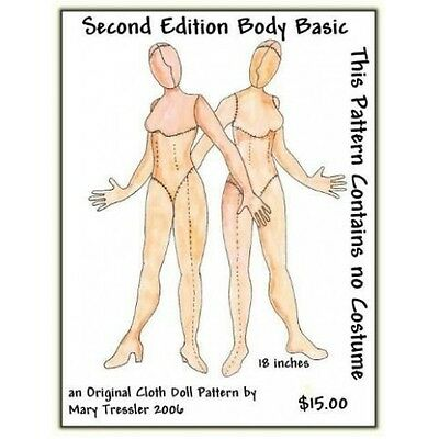 """*new* Cloth Art Doll (Paper) Pattern """"second Edition Body Basic"""""""