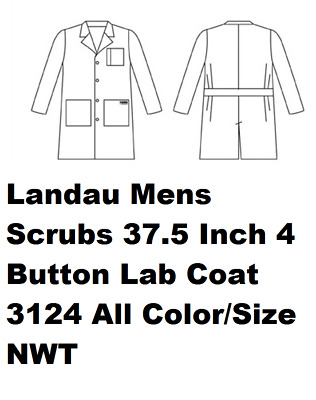 Landau Mens Scrubs 37.5 Inch 4 Button Lab Coat 3124 All Color/Size NWT