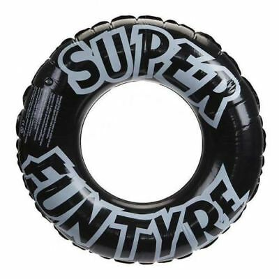 "36"" Black Inflatable Tyre Ring Rubber Pool Swimming Holiday Lounge Travel"