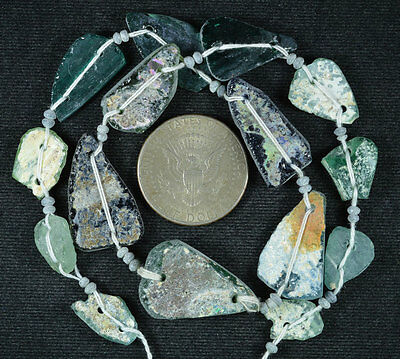 Ancient Roman Glass Beads 1 Medium Strand Aqua And Green 100 -200 Bc 600