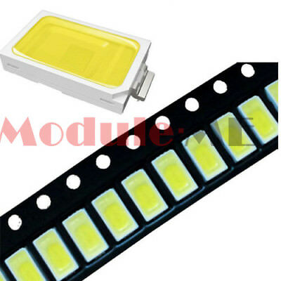 100PCS 120° SMD SMT-EE132 5730 White 6050-7000K LED Light Bead 50-55LM 3.3V-3.6V