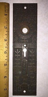 Vintage Ornate Victorian BRASS Door Knob Double Keyed Back Plate Keyhole Cover