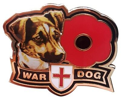 War Dog Jack Russell Remembrance Day Enamel Poppy Pin Badge