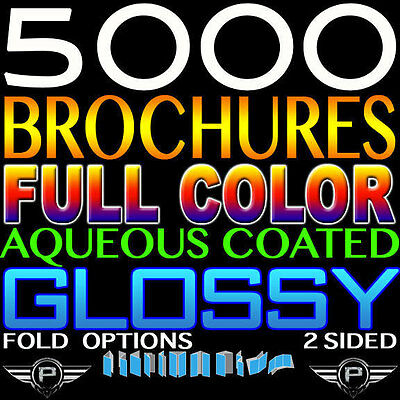 "5000 BROCHURES 8.5""X11"" FULL COLOR 8.5X11 Professional Print 100LB GLOSS FOLDED"