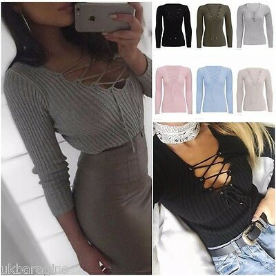 Womens Ladies Tie Lace Up V Neck Ribbed Stretched Knitted Long Sleeve Jumper Top