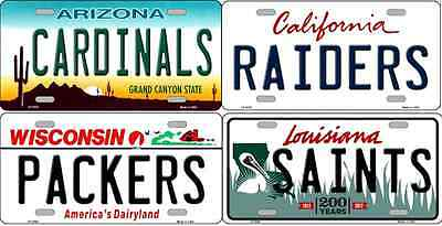 NFL License Plate Football State Background Novelty Metal 6X12 USA NEW