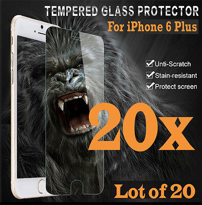 20x Premium Real Tempered Glass Screen Protector for iphone 6 Plus 6S+ HQ lot 20