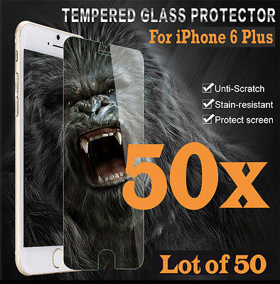 50x Premium Real Tempered Glass Screen Protector for iphone 6 Plus 6S+ HQ lot 50