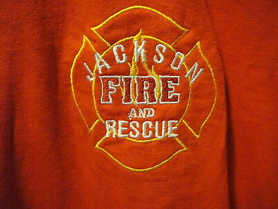 JACKSON FIRE & RESCUE Embroidered ~ BBQ CREW ~ T Shirt Large Red