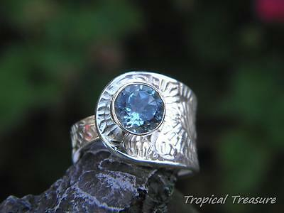 Blue Topaz & 925 SOLID Sterling Silver RING (Size 9-10 Adjustable)   #256675