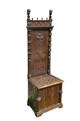 RARE Antique French Gothic Bench Special Narrow Well Carved Model Lions and More