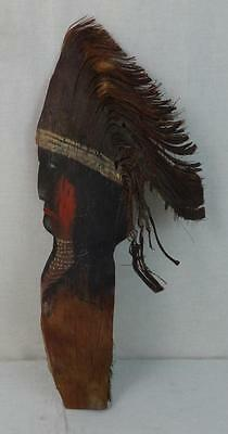 Palm Tree Leaf Folky Carved & Painted Profile of a Native American Signed?