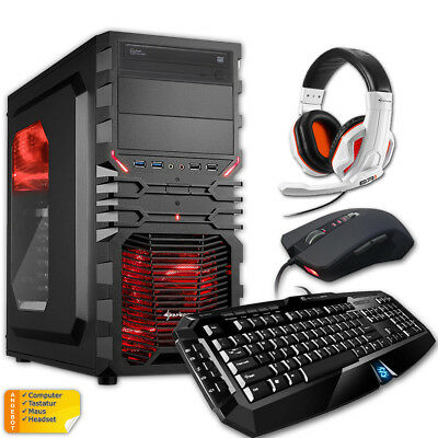 KOMPLETT GAMING SET Computer Gaming Tastatur, Maus, Headset PC Rechner Windows 7