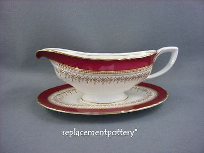 Royal Worcester Regency Red Gravy Boat & Stand