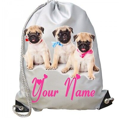 ed6ae2ccfde7 GIRLS KIDS Personalised PUG DOG Pink Bows School Bag for GYM Swim PE Dance