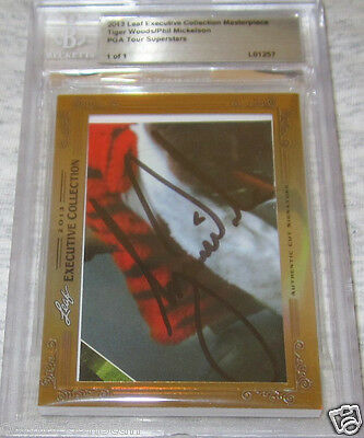 Tiger Woods Phil Mickelson 2013 Leaf Masterpiece Cut Signature card 1/1 PSA/DNA