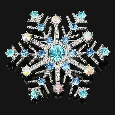 Sparkling Shiny Bling Christmas Snowflake Brooch Pin Lapel Pin Jewelry