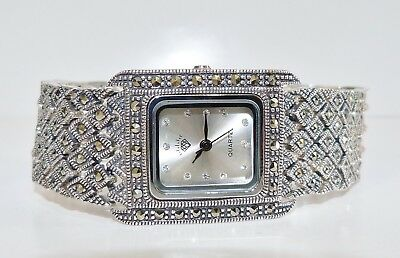 VINTAGE STYLE!! Champagne Marcasite Bracelet Watch 58grams Solid S/Silver 925!
