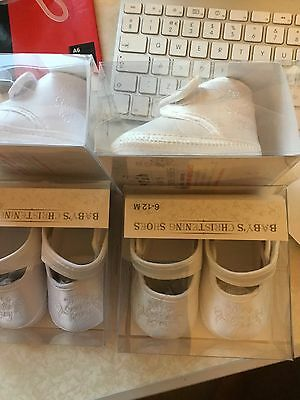 Baby's White Ivory Satin Christening Shoe Boots Boys Girls My Special Day Velcro