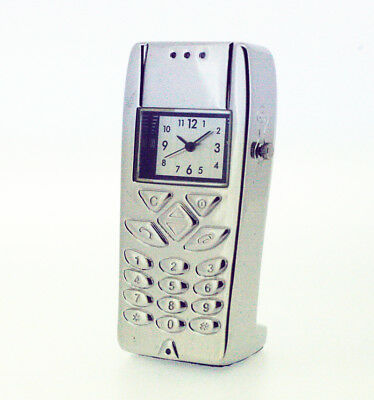 Novelty Miniature Mobile Phone Clock in Chrome Tone