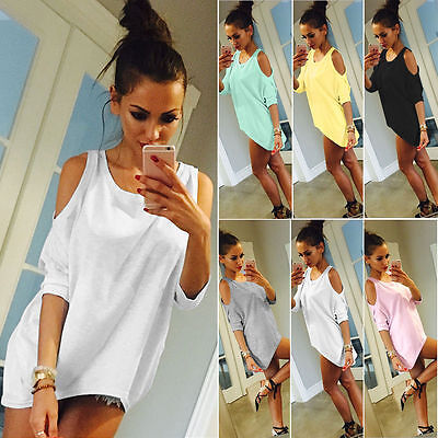 Summer Womens Ladies Off Shoulder Short Sleeve Casual T-Shirt Tops Loose Blouse