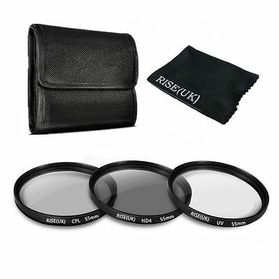 55mm UV CPL ND 4 ND4 Circular Polarizing ND Lens Filter Kit For Sony Alpha 18-55