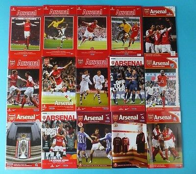 Arsenal Football Programmes 2004-05, 2007, 2008 various Seasons
