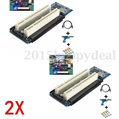 2x PCI-E Express X1 to Dual PCI Riser Extend Adapter Card W/ 2.6 FT USB3.0 Cable
