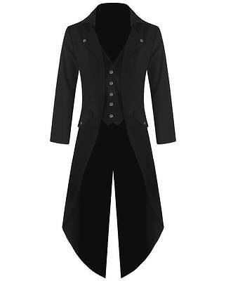Mens Steampunk Tailcoat Jacket Black Gothic VTG Victorian Coat